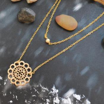 A-169 Layered pendant necklace, Double strand necklace, Lace necklace,Simple necklace,Gold plated chain/ Bridesmaid gifts /Everyday jewelry/