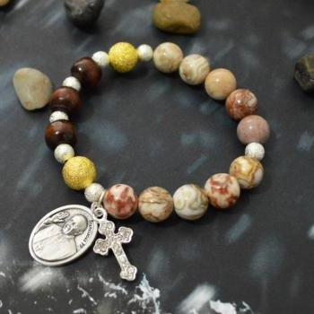 C-136 Rosary bracelet, Stretch bracelet, Stone bracelet, Coral Slider, Wood, Cross, Pope Francis medal/, Silver plated/Everyday jewelry/