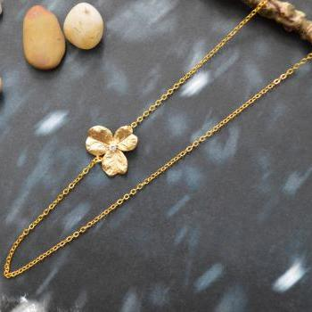 A-180 Sideways Necklace, Cubic Flower necklace, Asymmetrical, Unbalanced, Simple necklace, Gold plated/Everyday jewelry /Special gift/