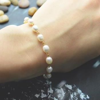 C-077 Rosary bracelet, White pearl bracelet, Stone bracelet, Cross bracelet, Metal beads, Gold plated/Everyday jewelry/