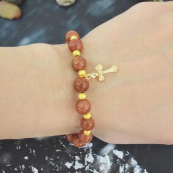 C-143 Rosary bracelet, Stretch bracelet, Stone bracelet, Cross bracelet, Gold sand stone bracelet, Gold beads, Gold plated/Everyday jewelry/