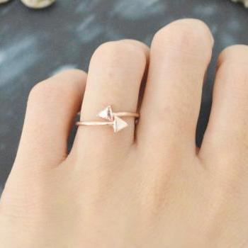 E-055 Double arrow ring, Adjustable ring, Stretch ring, Simple ring, Modern ring, Pink Gold plated ring/Everyday/Gift/