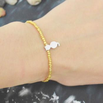 C-155 Gold Beaded bracelet, Seed beads bracelet, Cat bracelet, Simple, Modern bracelet, Silver plated /Everyday jewelry/